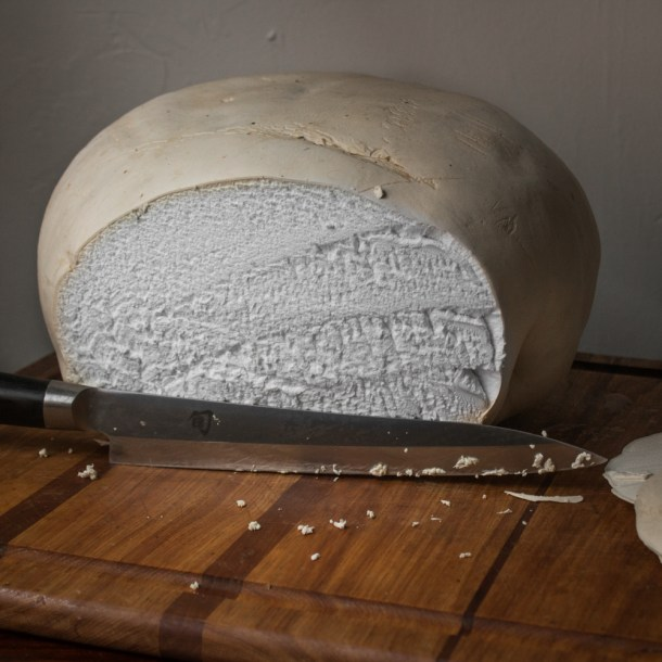 Slicing a giant puffball mushroom