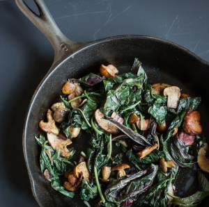 Wilted Amaranth With Summer Mushrooms and Garlic