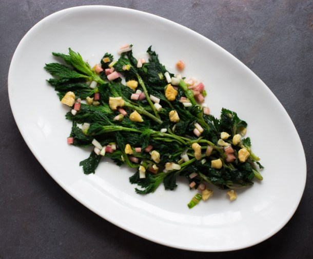 young nettles with black walnuts and ramps