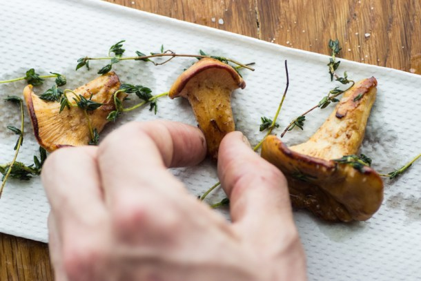 white chanterelles roasted with thyme