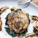 puffball mushroom ravioli with maitake, hygrophorus russula, and hedgehog mushrooms