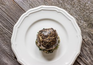 Beef filet en crepinette with morels and grains