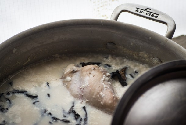 rabbit braised with black trumpets and milk