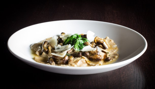 Honey mushrooms with squash ravioli, brown butter, spinach