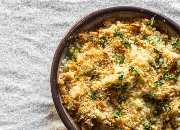 Cauliflower mushroom gratin