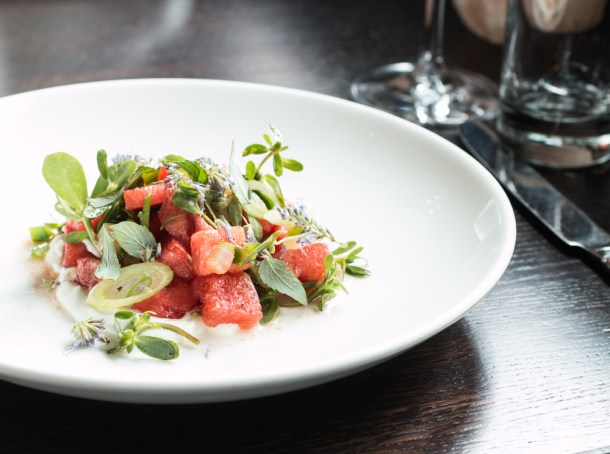 Watermelon Salad With Purslane, Goat Cheese, Jalapeno, and Anise Hyssop-2