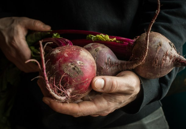 beets, stems, leaves