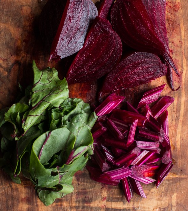Roasted Beets, Their Leaves and Stems