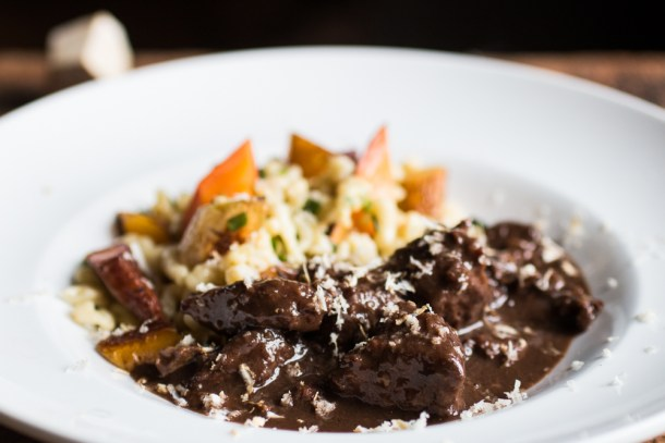 Bison Stew With Coffee and Dried Bolete Mushrooms_