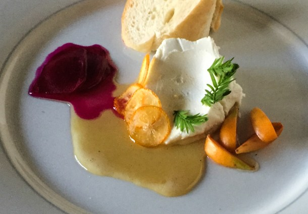Cheeseplate with prickly pear, tupelo honey, cyrpris tips, and loquats.