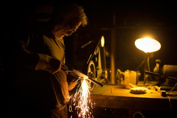 Madison making homemade spears. Photo credit: primitivesupplyco.com