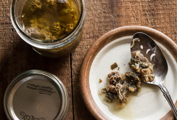 Morel mushroom and ramp preserves