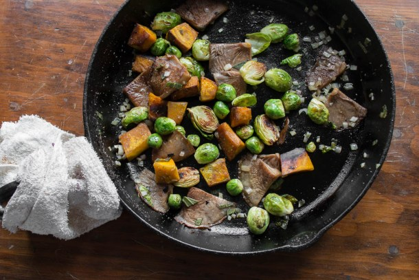 Pan roasted blewits with brussesls sprouts, squash and sage