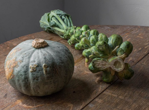 Brussels sprouts and kabocha squash from the st paul farmers market 2017