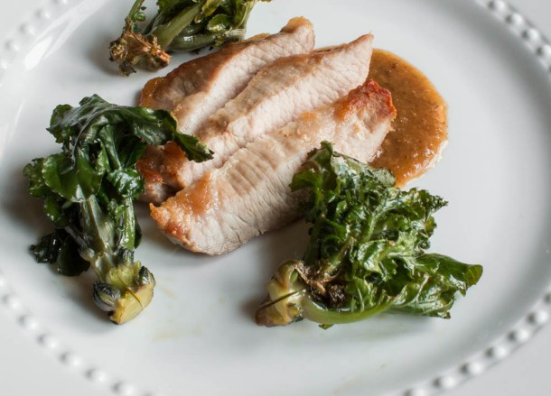 Pork Secreto with Kale Sprouts and Tkemali