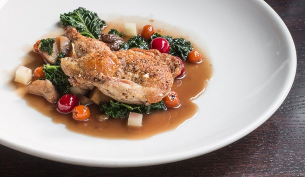 Quail with rowanberries and chestnuts