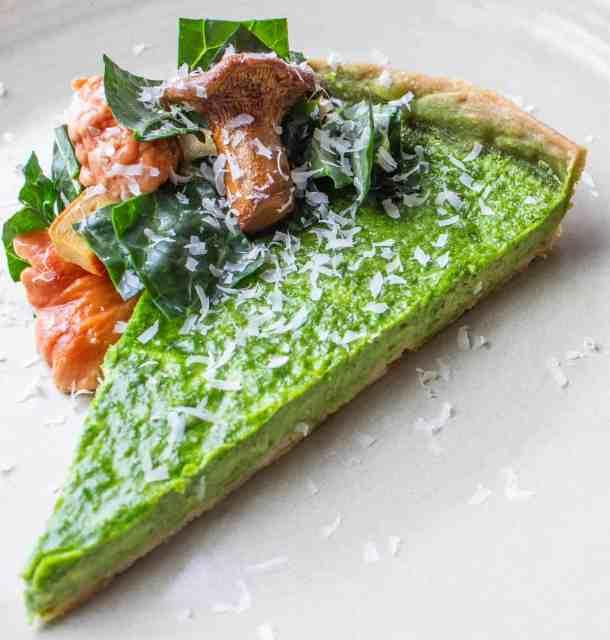 Kale tart,with a chanterelle mushroom salad