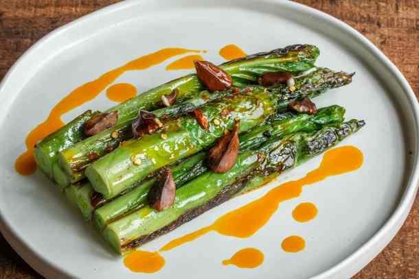 Marinated hosta shoots salad