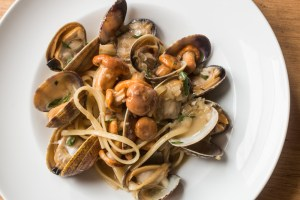 Linguine with white manilla clam sauce and chanterelle mushrooms