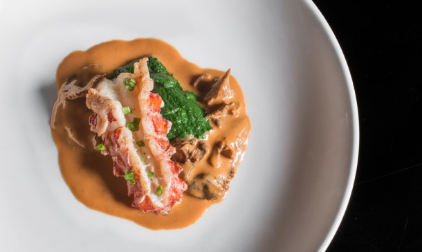 Lobster with yellowfoot chanterelles and spinach-dandelion puree