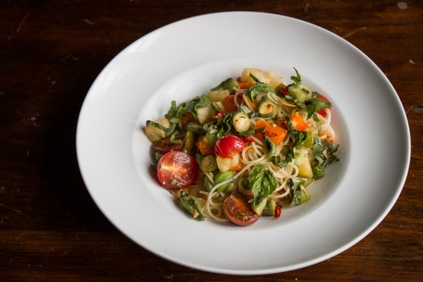 Spaghetti with milkweed pods, heirloom tomatoes and basil