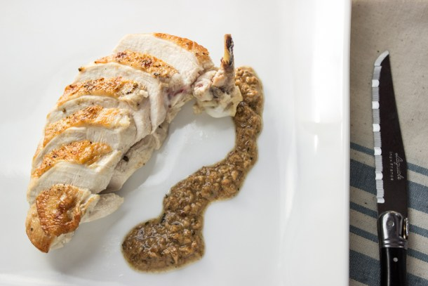 Pan roasted chicken breast with crispy skin and hedgehog mushroom duxelles sauce