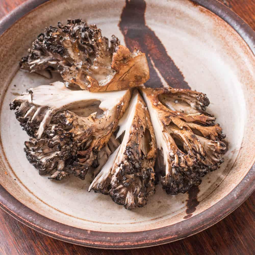 Hen of the woods mushroom roast with frizzled leeks