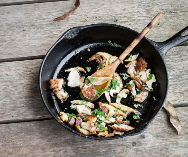 Wild mushrooms Bordelaise with duck fat, shallots and lemon
