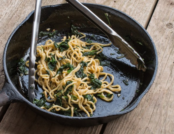 Fresh spaghetti with colatura di alici, virgina waterleaf and hickory nut oil