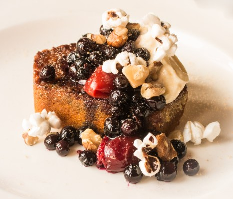 Caramelized pumpkin bread with wild plums, candied black walnuts, wild blueberries and heirloom popcorn
