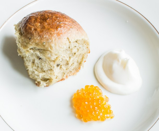 Wild herb brioche bun with creme fraiche and trout caviar