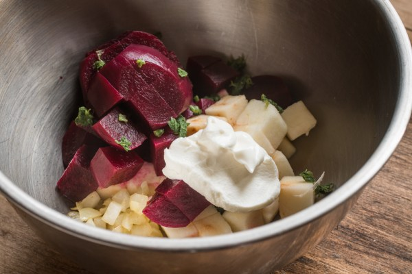 Roasted Beets and Apples With Yogurt and Angelica Leaves Recipe