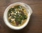Tepary bean soup with smoked dried goose and galinsoga recipe