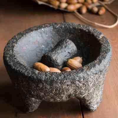 Cracking dried white acorns