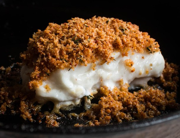 Skrei cod baked with wild lobster mushroom breadcrumbs