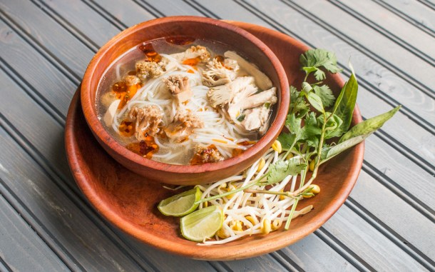 Vietnamese style noodle soup with coral mushrooms, chicken and rue ram