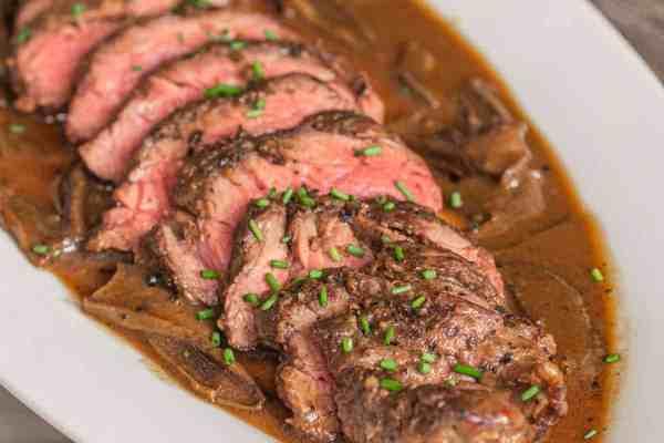 Peppercorn steak with dried wild mushroom sauce