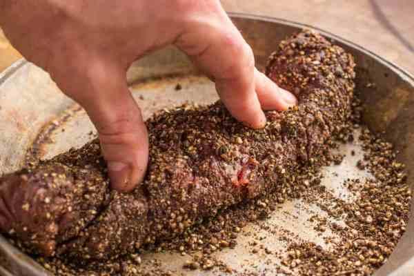 Hanger steak au poivre dried bolete mushroom sauce (3)