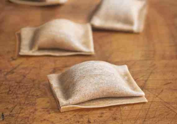 Dried bolete mushroom ravioli with bolete mushroom filling