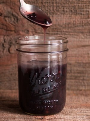 Wild blueberry sauce with sweetfern nutlets recipe