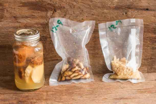 Vacuum sealed and brine fermented mushrooms