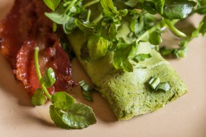 Watercress omelet recipe with a watercress salad (green eggs and ham)