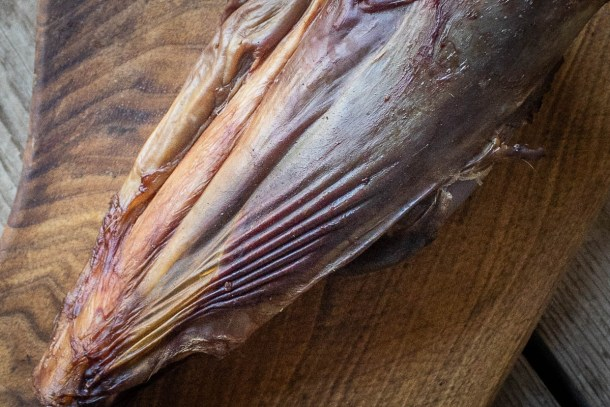 Stretched fascia on a smoked venison shank