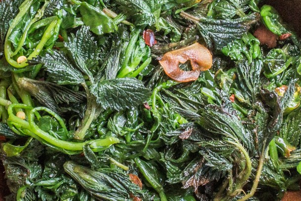Italian foraged greens with garlic and chili