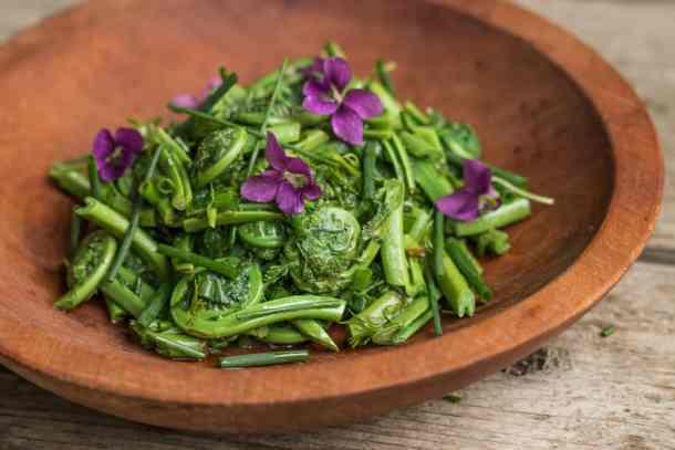 Foraged ostrich fiddlehead fern salad recipe