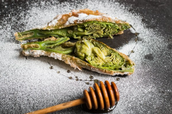 Fried Angelica blossoms or zavirne with honey and powdered sugar