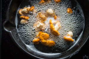 Boiling chanterelle mushrooms in water before sauteeing