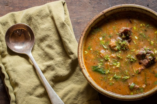 Sweet and sour venison Kharcho stew with wild plum leather recipe