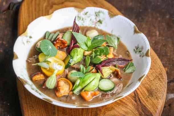 Groundhog or woodchuck stew with garden vegetables recipe