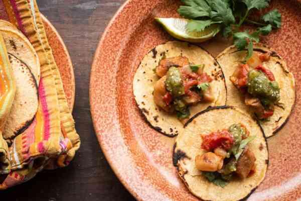 Wild mushroom tacos recipe made with shrimp of the woods mushrooms